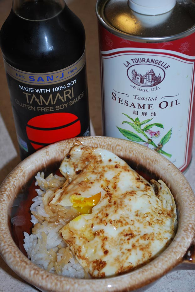 4/6: Rice Topped with a Fried Egg, Sesame Oil and GF Soy Sauce
