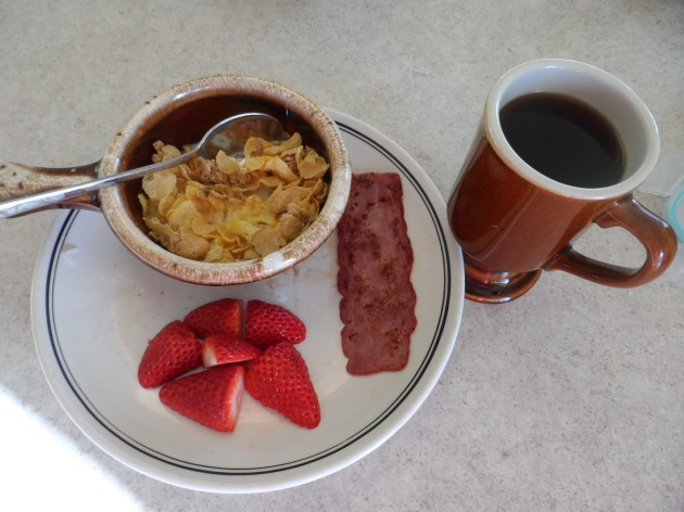 4/9: Honey Bunches of Oats, Turkey Bacon, Strawberries and Coffee